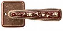 Ручка дверная на квадратной розетке Val De Fiori Николь, Бронза состаренная с эмалью