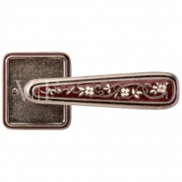 Ручка дверная на квадратной розетке Val De Fiori Николь, Серебро античное с эмалью