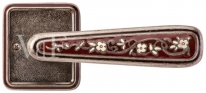 Ручка дверная на квадратной розетке Val De Fiori Николь, Серебро античное