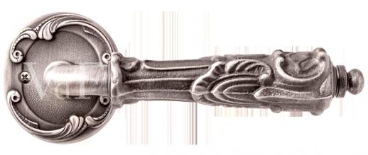 Ручка дверная на круглой розетке Val De Fiori Соланж, Серебро античное