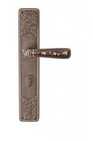 Ручка дверная на планке с фиксатором Val De Fiori Николь, Бронза античная с эмалью