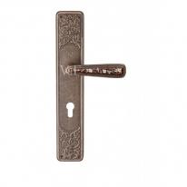 Ручка дверная на планке под цилиндр Val De Fiori Николь,, Бронза античная с эмалью
