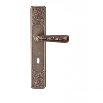 Ручка дверная на планке под цилиндр Val De Fiori Николь, Бронза античная с эмалью