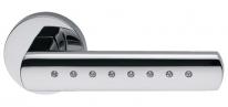 Ручка дверная на круглой розетке Dnd Виста кристаллы Swarowski, Хром блестящий