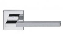 Ручка дверная на квадратной розетке Dnd Аристо, Хром блестящий/Хром матовый