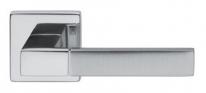 Ручка дверная на квадратной розетке Dnd Порто, Хром блестящий/Хром матовый