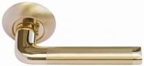 """Ручка дверная на круглой розетке Morelli """"Эпоха Возрождения"""", Золото матовое/Золото Mh-03 SG/GP"""