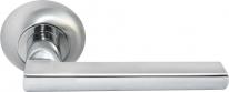Ручка дверная на круглой розетке Morelli Зеркальная гостиная, Хром матовый/Хром блестящий Mh-25 SC/CP