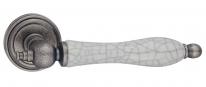 Ручка дверная на круглой розетке RENZ  Мишель, Серебро античное/керам. сост.