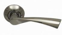 Ручка дверная на круглой розетке фалевая Archie Sillur X11, Хром