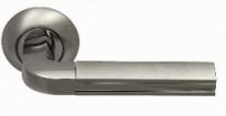 Ручка дверная на круглой розетке фалевая Archie Sillur 96, Хром матовый/Хром