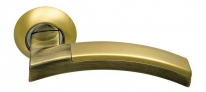 Ручка дверная на круглой розетке фалевая Archie Sillur 132, Золото матовое/Золото