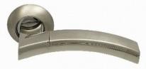Ручка дверная на круглой розетке фалевая Archie Sillur 132, Хром матовый/Хром