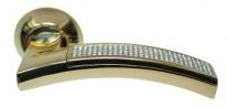 Ручка дверная на круглой розетке Archie Sillur 132, Золото/Кристаллы