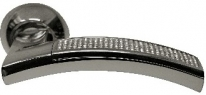 Ручка дверная на круглой розетке фалевая Archie Sillur 132, Хром/ Кристаллы