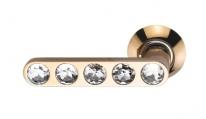 Ручка дверная на круглой розетке фалевая Archie Sillur 200, Золото/Кристаллы