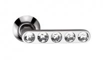 Ручка дверная на круглой розетке фалевая Archie Sillur 200, Хром/ Кристаллы