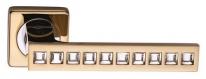 Ручка дверная на квадратной розетке фалевая Archie Sillur C199, Золото/Кристаллы