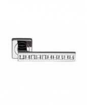 Ручка дверная на квадратной розетке фалевая Archie Sillur C199, Хром/ Кристаллы