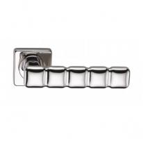 Ручка дверная на квадратной розетке фалевая Archie Sillur C202, Хром