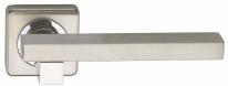 Ручка дверная на квадратной розетке фалевая Archie Sillur C92, Хром матовый/Хром