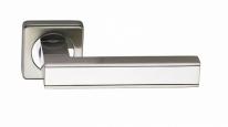 Ручка дверная на квадратной розетке фалевая Archie Sillur C159, Хром матовый/Хром