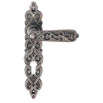 Ручка дверная на планке под цилиндр Archie Arabesco (Cl), Серебро чернёное