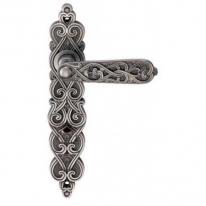 Ручка дверная на планке проходная Archie Arabesco (Ps), Серебро чернёное