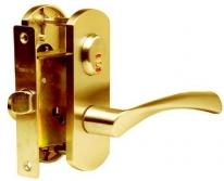 Комплект дверной с фалевой ручкой Archie, Золото матовое  (Защелка, Фиксатор)
