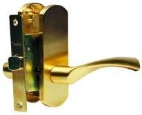 Комплект дверной с фалевой ручкой Archie, Золото матовое  (Защелка)
