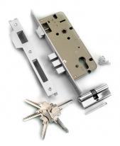 Замок врезной с защелкой, 3 Прямоугольных Ригеля, Английский Ключ, Archie, Хром