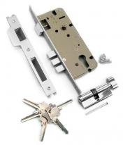 Замок врезной с защелкой Archie, 3 Прямоугольных Ригеля,ключ-вертушка, перфорированный ключ, Хром