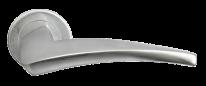 Ручка дверная на круглой розетке Morelli Luxury Nc-9 Csa, Wind, Хром матовый