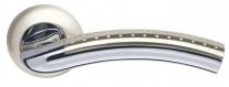 Ручка дверная на круглой розетке Armadillo Libra Ld26-1Sn/Cp-3 Никель матовый/Хром  (Кв. 8Х140)