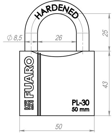 Замок навесной Fuaro Pl-3050 (50 Мм) 3