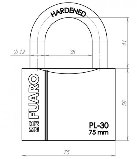 Замок навесной Fuaro Pl-3075 (75Мм) 3