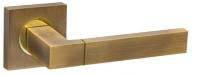 Ручка дверная на квадратной розетке Fuaro Ethno Km Ab/Gp-7, Бронза/Золото