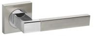 Ручка дверная на квадратной розетке Fuaro Ethno Km Sn/Cp-3, Никель матовый/хром