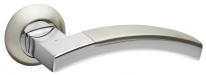 Ручка дверная на круглой розетке Fuaro Accord Rm Sn/Cp-3, Никель матовый/Хром