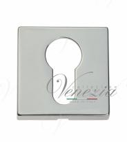Накладка дверная квадратная под цилиндр Venezia Unique CYL-20 полированный хром 2 шт.