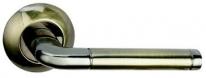 Ручка дверная на круглой розетке Bussare Lindo A-34-10, Графит/Бронза античная