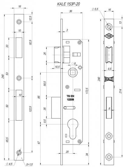 Корпус замка врезного цилиндрового узкопроф. Kale-Kilit 153/P (20 Mm) W/B (Никель)