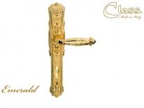 Ручка дверная на планке с фиксатором Class 1070 Emerald Wc Золото 24 К