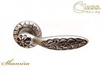 Ручка дверная на круглой розетке Class 1065 Shamira Rose 60 Mm Старинное Серебро Матовое+ Коричневый