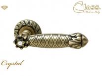 Ручка дверная на круглой розетке Class 1095 Crystal Rose 60 Mm Бронза матовая + Сваровский