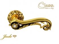 Ручка дверная на круглой розетке Class 1115 Jade Rose 60 Mm Золото 24K + Коричневый + Сваровски + 6S