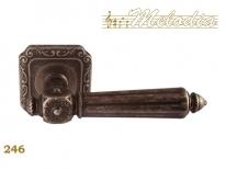 Ручка дверная на квадратной розетке Melodia Nike 246Q Серебро античное