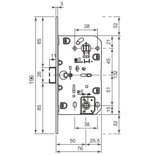 Замок сантехнический магнитный Agb Wc B05102.50.03.567 (=B04102) (Латунь) с отв. пл.  Mediana Polaris