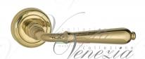 Ручка дверная на круглой розетке Venezia Classic D1 Латунь блестящая