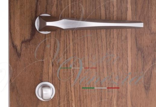 Ручка дверная на круглой розетке Venezia Unique Stone (серия SLIM) Хром матовый